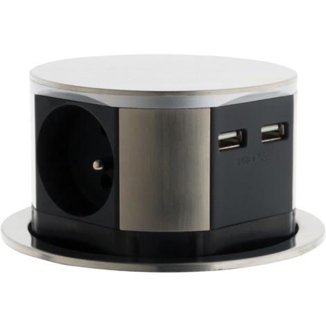 Bloc escamotable compact 16A finition inox -4 prises 2P+T ou 3 prises 2P+T + 2x USB