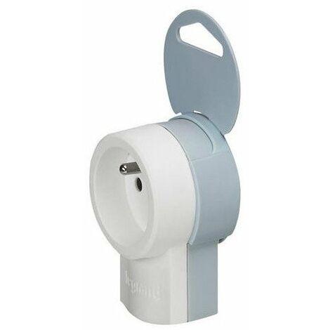Bloc multiprise - 1 prise - Sans interrupteur - Sans câble - Blanc/Gris