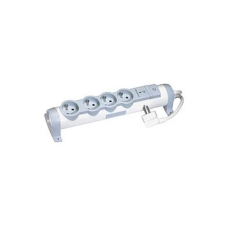 Bloc multiprise - 4x2P+T - 16A - 230V - Parafoudre - Blanc et Gris - Legrand