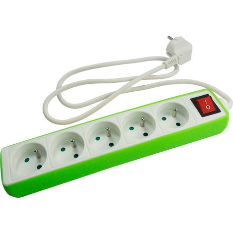 Bloc multiprise 5 prises 16A 2P+T avec interrupteur - Housse silicone: Rubis, Lemon, Chloro ou Saphir