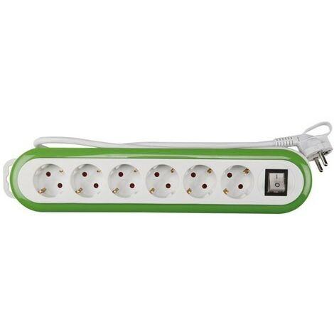 Bloc Multiprise - 6 Prises - Avec Interrupteur - Vert/Blanc - Terre Allemande