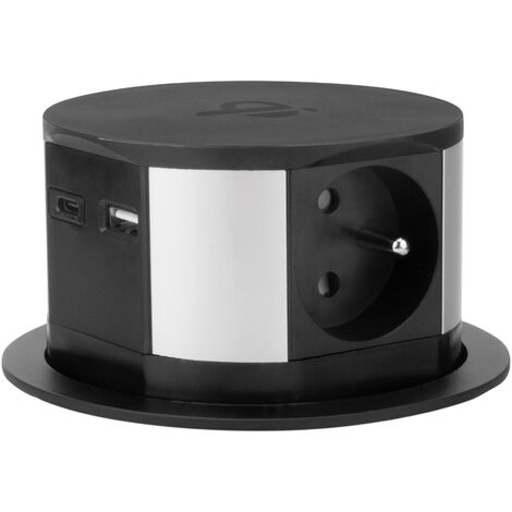 """main image of """"Bloc multiprise encastrable 3 prises 16A + 2x USB et chargeur induction - Otio"""""""