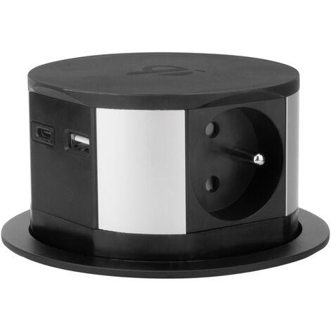 Bloc multiprise encastrable avec chargeur USB et induction - Otio