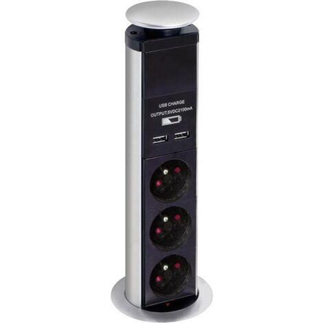 Bloc multiprise escamotable 3 prises + 2 USB EBP03LUSB 1 pc(s)