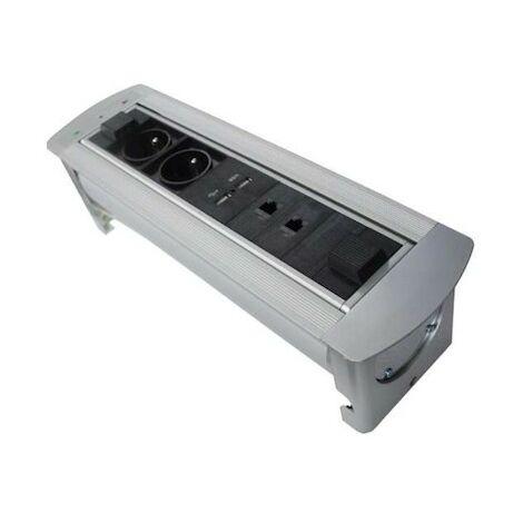 Bloc multiprise horizontal motorisé - 2 prises - 2P+T - 2 USB - 2 RJ45 - Noir et alu