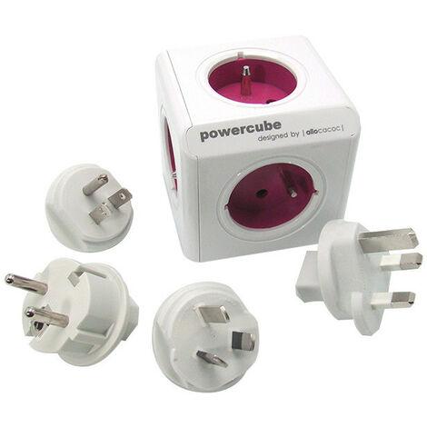 Bloc multiprise PowerCube 4 prises + 2 USB + adaptateurs de voyage