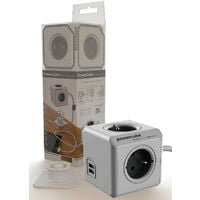 Bloc multiprise PowerCube 4 Prises + 2 USB + câble 3 m