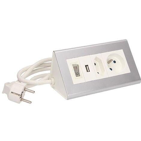 Bloc multiprise prise type E, prise type C, USB et interrupteur - Orno