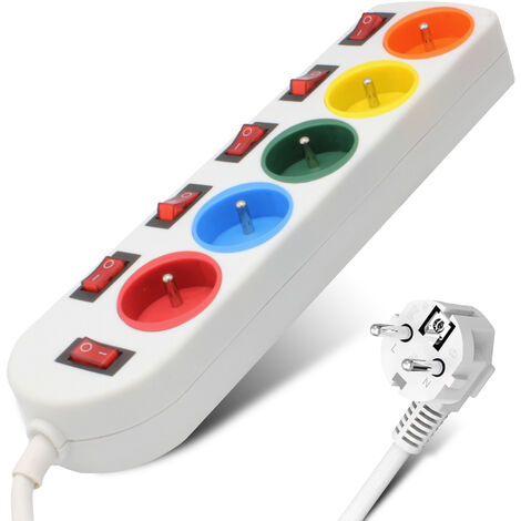 Bloc Multiprise Couleur - Interrupteur pour chaque sortie + 5 stickers - Cable 1,5 M - Normes NF