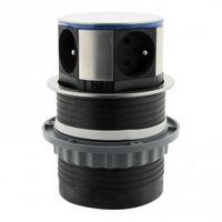 Bloc multiprises escamotable Ø 100mm - 3 prises 16A + 2 USB LED - Otio