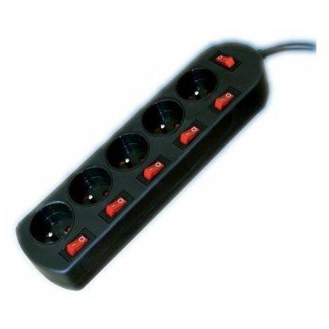 Bloc multiprises noir - 5 entrées et 6 interrupteurs - 2m
