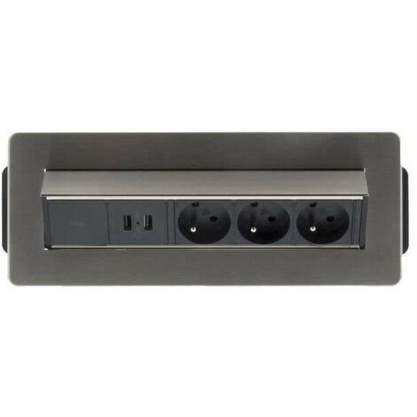 OTIO Bloc prise encastrable pivotant 3x16A avec 2 ports USB