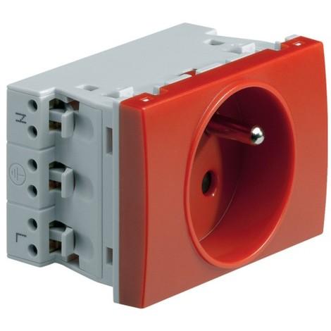 Bloc Prise 2P+T 16A rouge format 45mm spécial pour goulotte SYSTO HAGER WS121R