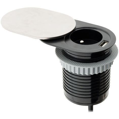 Bloc prise encastrable compact à glissière avec port USB - Otio