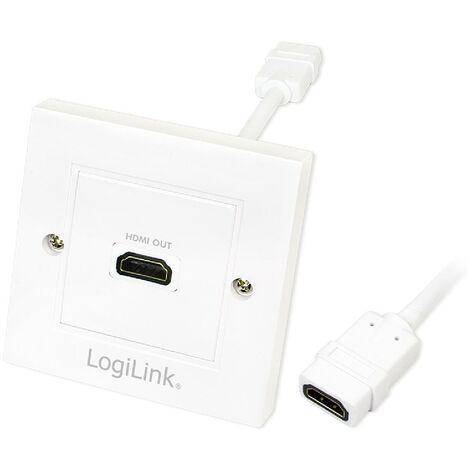 Bloc prise murale encastrable - HDMI - blanc LogiLink