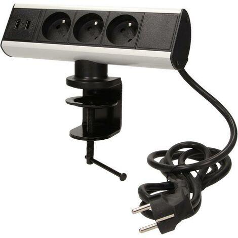 Bloc prises de bureau, 3 prises 230V et 2 chargeurs USB - Orno