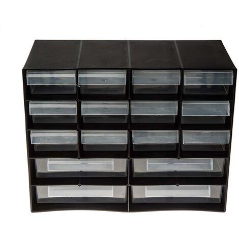 Bloc tiroir en Plastique Noir, 16 tiroirs en Plastique transparents, 210mm x 270mm x 130mm