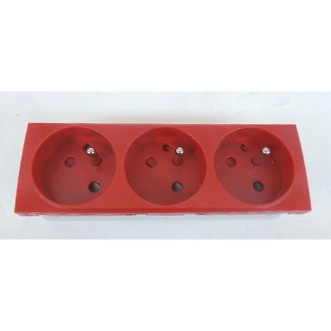 Bloc triple prise 3X 2P+T 16A à detrompage rouge format 45X135mm à clipser dans goulotte d'installation IBOCO 45031