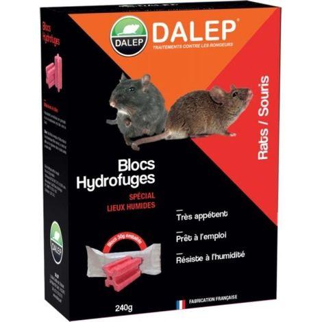 Blocs hydrofuges raticides souricides DALEP®, boîte de 8 sachets de 30g