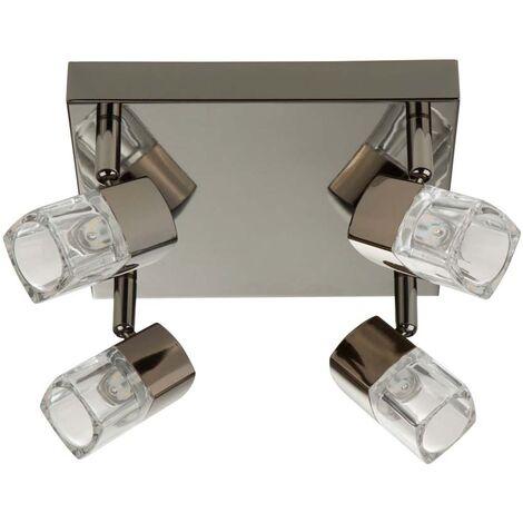 Blocs LED, projecteur carré 4 flammes, chrome noir, verre transparent (glaçons)