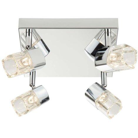 Blocs LED, spot carré 4 flammes, chrome, verre transparent (glaçons)