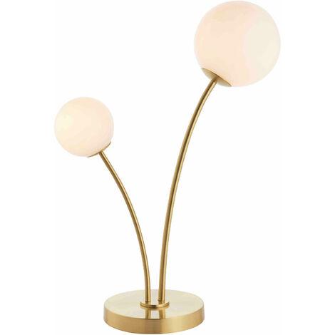 Bloom lámpara de acero Tabla de latón plato y vidrio opal satinado