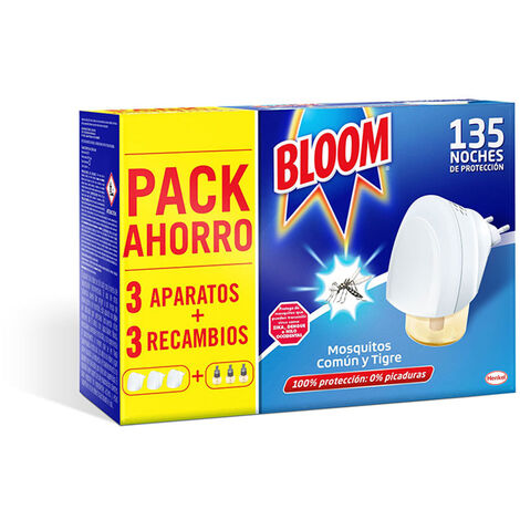 BLOOM Pack ahorro insect bloom 3ud aparato+3 recambios mosquitos común y tigre