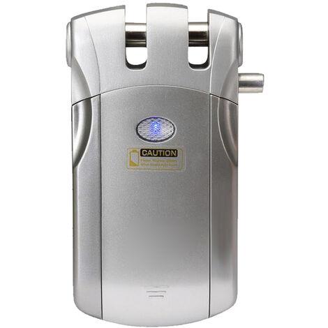 Bloqueo inalambrico de control remoto, seguridad sin llave cerradura de puerta, con 4 teclas de control remoto, de plata