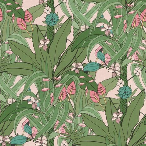 Blossom Botanical Wallpaper Pink Green Natural Leaves Rasch Paste The Wall