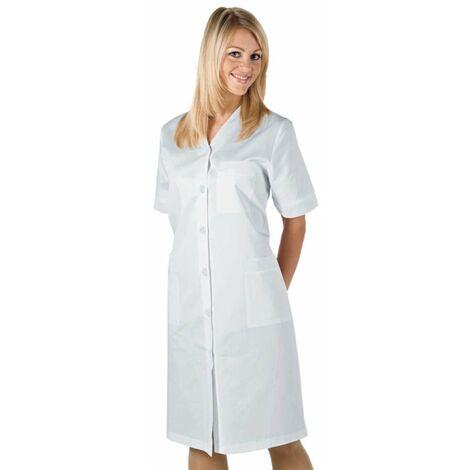 Blouse blanche laboratoire femme col V Isacco Michelle 100% coton manches courtes