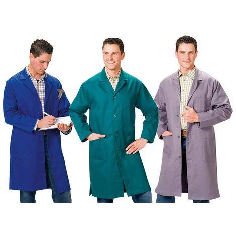 Blouse de travail en coton bleu barbeau longueur 3/4 - taille 46