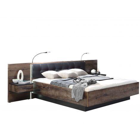 """BLQL181B-N09 Bellevue Eiche Schlamm / Schwarz Bett Doppelbett Ehebett Schlafzimmerbett 180 x 200 cm-""""SW13188"""""""
