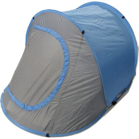 Blue 2 Man Pop Up Tent - Polyester 2 Person Fibreglass Lightweight