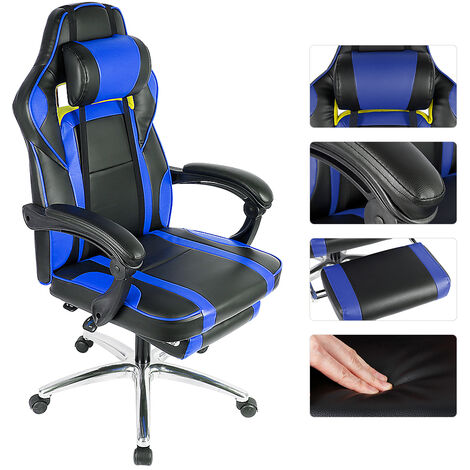 Blue and Black One Hole Adjustable Backrest with Foot Pads Office Chair Aluminum Alloy Legs