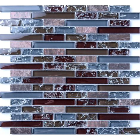 Blue and Brown Crackle Glass & Marble Mosaic Tile Sheet MT0156