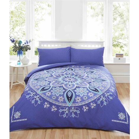 Blue Double Quilt Duvet Cover Bedding Bed Set & 2 Pillowcases Ethnic Indian Mandala