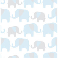 Blue Elephant Parade Peel & Stick Wallpaper