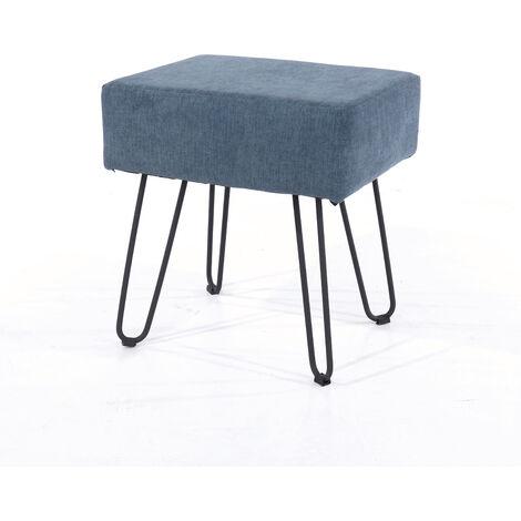 blue fabric upholstered rectangular stool with black metal legs