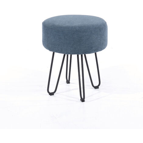 blue fabric upholstered round stool with black metal legs