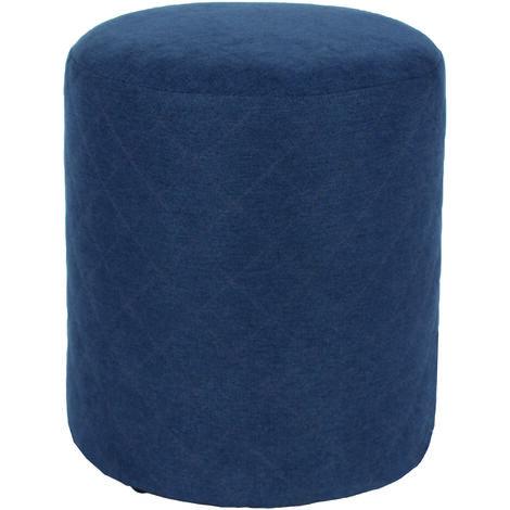 blue fabric upholstered round tub stool