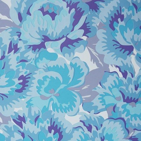 """main image of """"Blue Floral Wallpaper Flowers Lilac White Teal Children's Camouflage East West"""""""