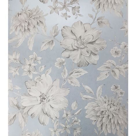 Blue Floral Wallpaper White Grey Flowers Pearlescent Metallic Crown Lucia