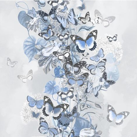 Blue Grey Floral Butterfly Wallpaper Glitter Botanical Muriva Summertime