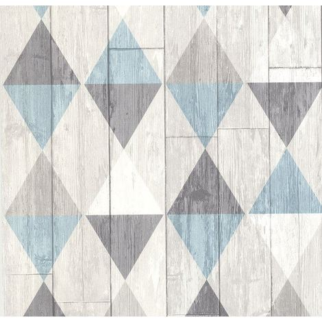 Blue Grey Wood Effect Wallpaper Geometric Triangles Paste The Wall Vinyl P+S