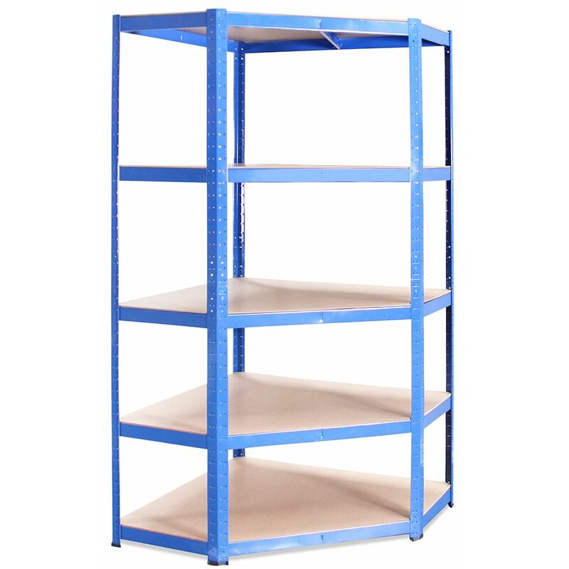 Image of Blue Metal 5 Tier Corner Racking Storage 180x90x40cm - G-RACK