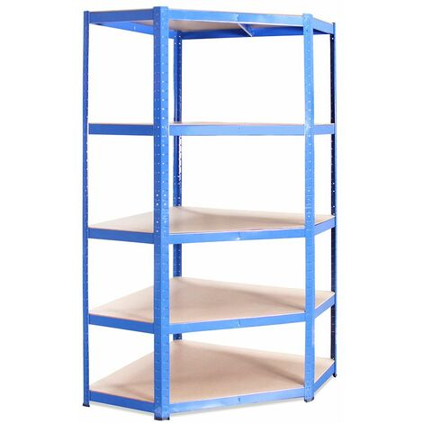 Blue Metal 5 Tier Corner Racking Storage 180x90x40cm