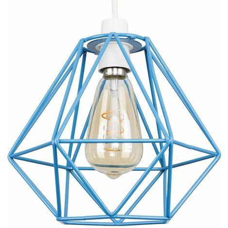 Blue Metal Cage Ceiling Pendant Light Shade - 4w LED Helix Filament Bulb 2200K Warm White