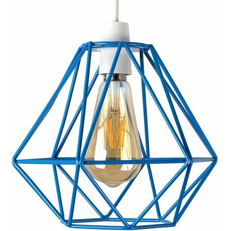 Blue Metal Ceiling Pendant Light Shade - 4W LED Filament Bulb Warm White