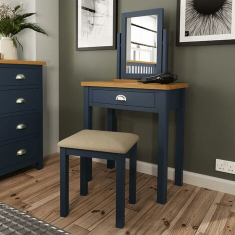 """main image of """"Blue Painted Trinket Mirror Dressing Table Set Adjustable Angle Wooden Frame"""""""