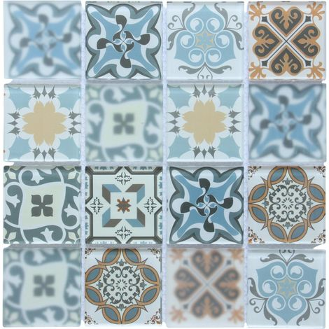 Blue Patterned Glass Mosaic Tile Sheet (MT0179)
